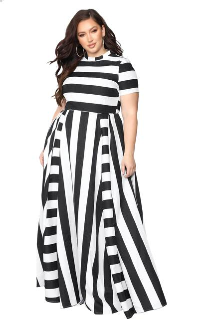 Oversized Women Maxi Short Sleeves Floor Length Casual Dress Plus Size Ladies Summer Stripes Party Tall Beauty Vestido 5