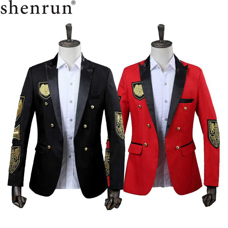 Shenrun Men Fashion Blazers Military Medal Tuxdeos Uniform Singer Suit Jacket Performance Wedding Jackets Stage Show Costume-in Blazers from Men's Clothing on AliExpress - 11.11_Double 11_Singles' Day 1