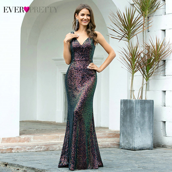Sexy Evening Dresses Ever Pretty EP00510 Mermaid Double V-Neck Sleeveless Sequined Sparkle Formal Party Gowns Robe De Soiree - discount item  45% OFF Special Occasion Dresses
