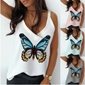 Women's Summer Tanks Tops Butterfly Printed Fasion Sleeveless Streetwear Sexy Off Shoulder V Neck Loose White T Shirt