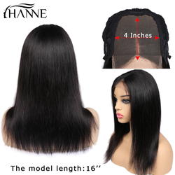 HANNE Hair 4*4 Lace Closure Human Hair Wigs Middle Part Remy Straight Hair Glueless Brazilian Wig with Baby Hair for Black Women