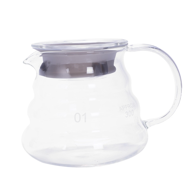 TOP!-V60 Pour Over Glass Range <font><b>Coffee</b></font> Server Carafe Drip <font><b>Coffee</b></font> Pot <font><b>Coffee</b></font> Kettle Brewer Barista Percolator Clear 360Ml image
