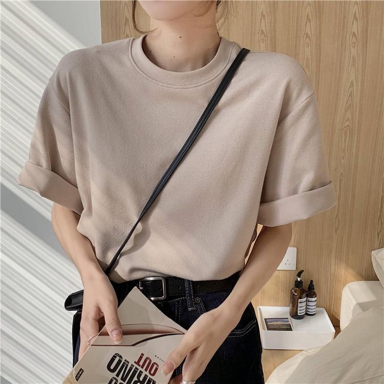 H53dcc03434984e93b5155431e9229afeQ - Summer O-Neck Short Sleeves Cotton Basic Solid T-Shirt