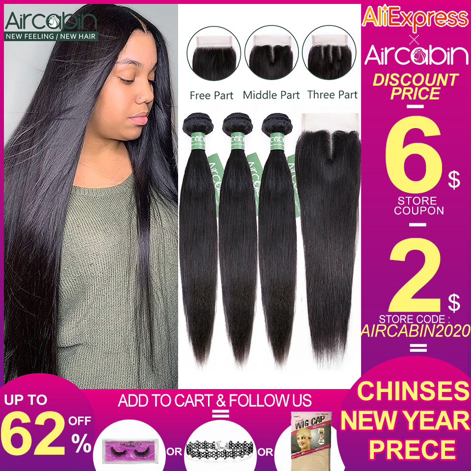 Aircabin Straight Hair Bundles With Closure Brazilian Remy Human Hair Weave Natural Color Bundle Medium Brown Swiss Lace Closure