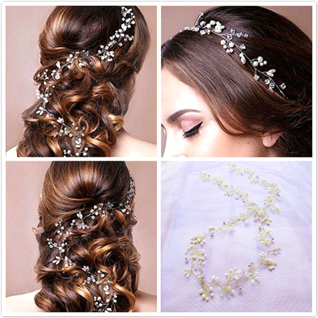 Crystal Pearl Hair Belt Wedding Bridal Hair Ornaments Bridal Headwear Decorations for Brides Wedding Hair Accessories 35cm 1