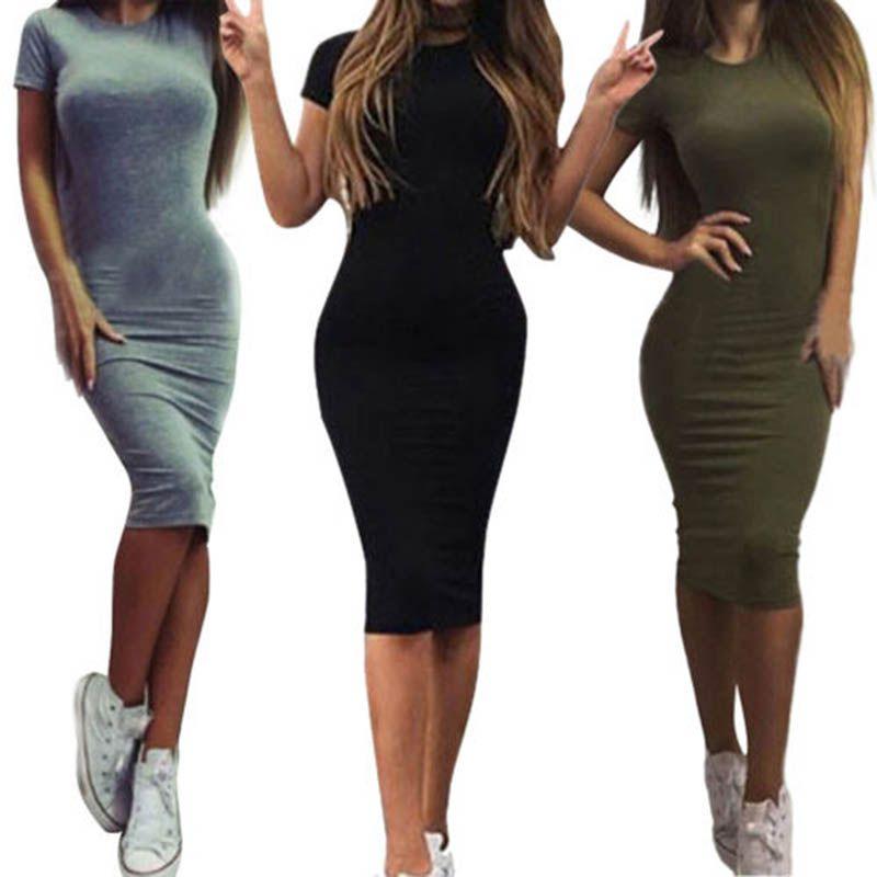 Summer Tunic Pencil Dresses Women Knee Length Skinny Office Dress Short Sleeve Bandage Slim Bodycon Beach Dress Vestidos Robes
