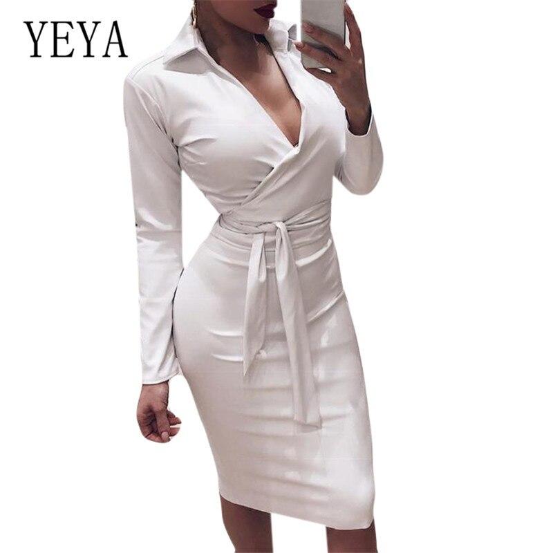 YEYA Fashion PU Leather Dress Women V Neck Long Sleeve Sexy Zipper Short Vestidos Elegant Night Party Club Clothes