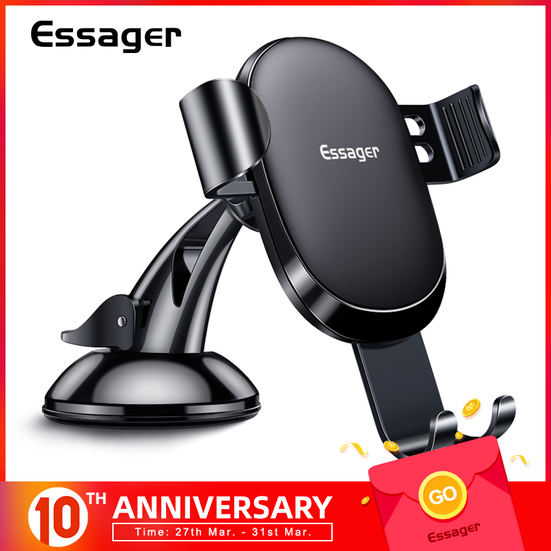 Essager Gravity Car Phone Holder For IPhone Samsung Universal Mount Holder For Phone In Car Cell Mobile Phone Holder Stand