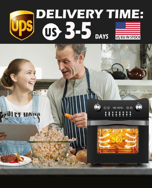 14.7QT Electric Toaster Oven 1800W Electric LED Touch Screen 16-in-1 Smart  Air Fryer 1