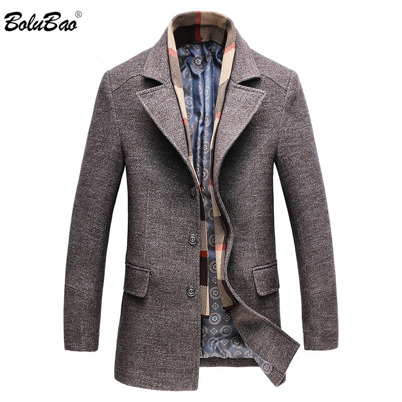 BOLUBAO Men Wool Blend Coats Winter New Men's Wool Trench Coat Quality Brand Thick Warm Wool Overcoat Male(Removable scarf