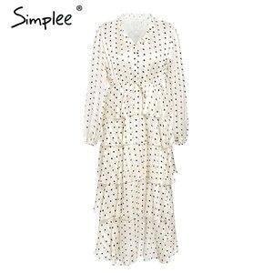 Image 5 - Simplee Elegant polka dots ชุดสตรีแขนยาวยาวเค้กหญิง Vintage สุภาพสตรีชุดราตรี vestidos