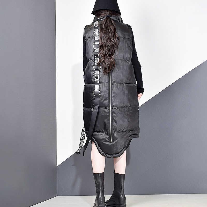 XITAO Nữ Đen Không Tay Bỏ Túi Rời Áo Năm 2019 Mới Làm Quan Không Tay Có Cổ Áo Vest Nữ Màu Trơn Phối ZLL2158
