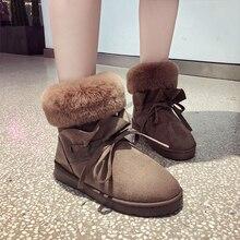 2019 New Women Snow Boots Platform Warm Plush Slip On Fur Fashion Ankle Pink Brown