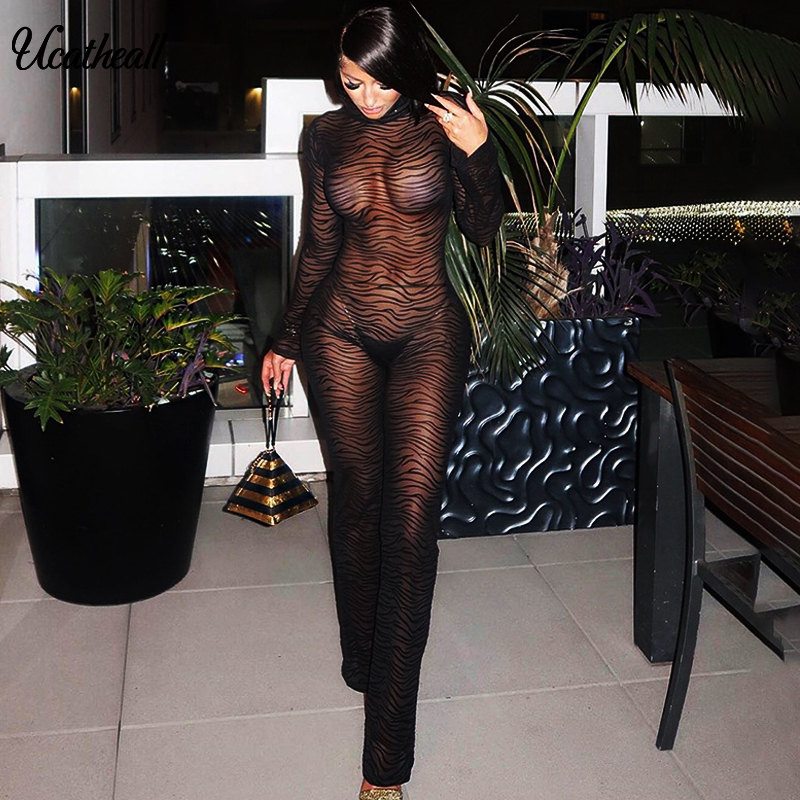 Summer Mesh Jumpsuit Women Mock Neck Sexy Backless Gauze Patchwork Jumpsuit Overalls Female Body