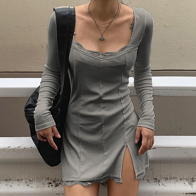 Darlingaga-vestido negro ajustado de retazos de encaje con cuello cuadrado para mujer, elegante Vestido corto de algodón a la moda con abertura lateral para otoño 4