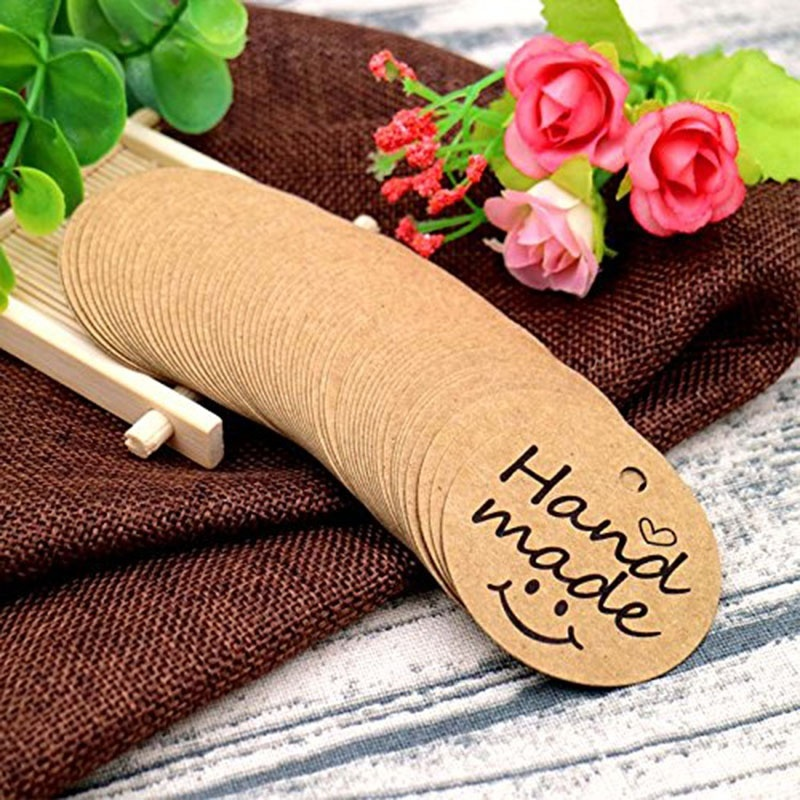 100Pcs Kraft Paper Gift Tags thank you for Celebrating with Us labels handmade for wedding party decoration Packaging Hang paper 6