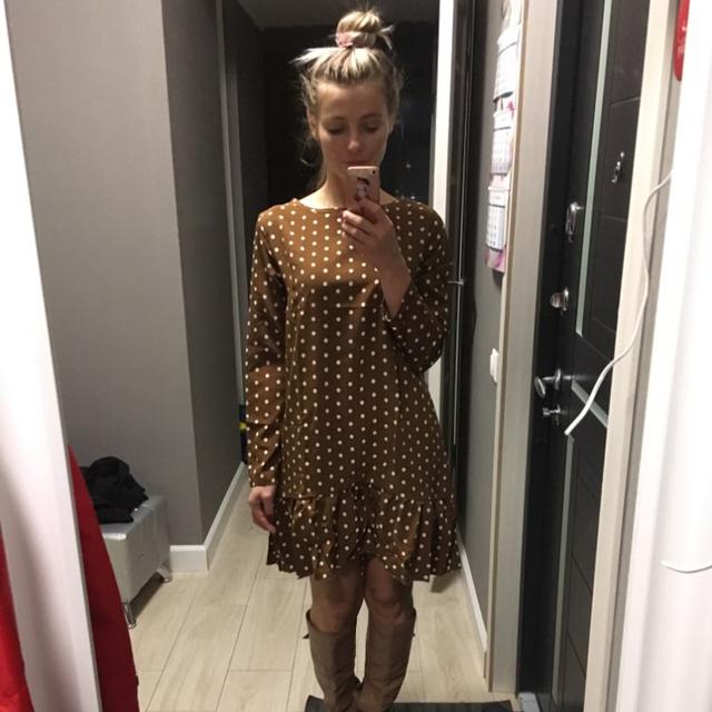 Polka Dot Chiffon Dress Long Sleeve O Neck Ruffle Dress