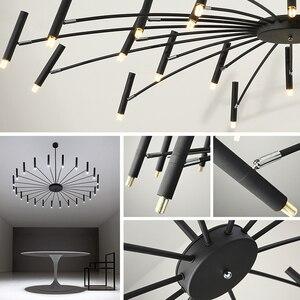 Image 5 - Lustre de decoração moderna, lustre de luminária preto com design criativo para sala de estar e sala de jantar