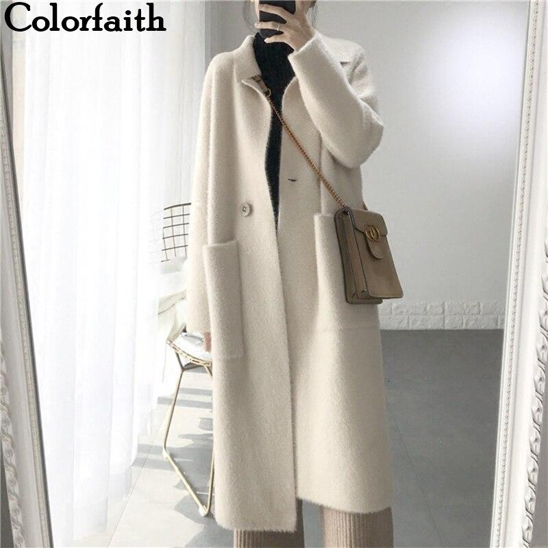 Colorfaith Neue 2019 Herbst Winter Frauen Jacken Warme Koreanische Stil Büro Dame Elegante Lange Mantel Oberbekleidung Wolle Blends JK3123