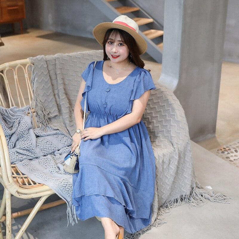 [Xuan Chen] Summer Plus-sized WOMEN'S Dress Fly Sleeve Dress French Non-mainstream Platycodon Grandiflorum Skirt Very Fairy Yama