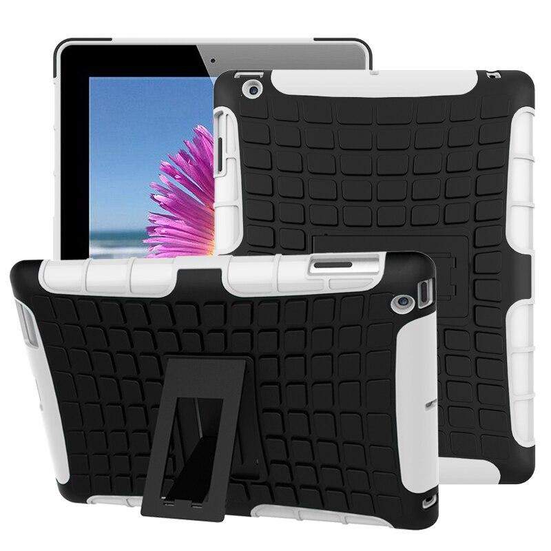 Противоударный сверхпрочный чехол для iPad 2/3/4 Гибридный армированный ПК + резиновый силиконовый чехол-подставка для iPad 4 3 2 противоударный