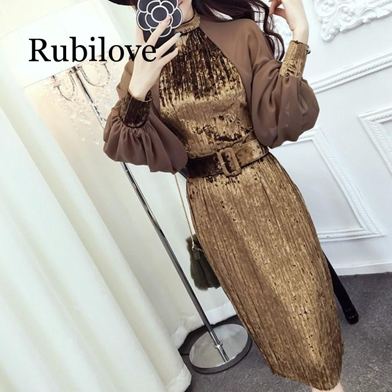 Rubilove 2019 Spring Fashion Lanterns Sleeve Sashes Chiffon Patchwork Dresses Vintage Belt Pleated High Waist Velvet Dress