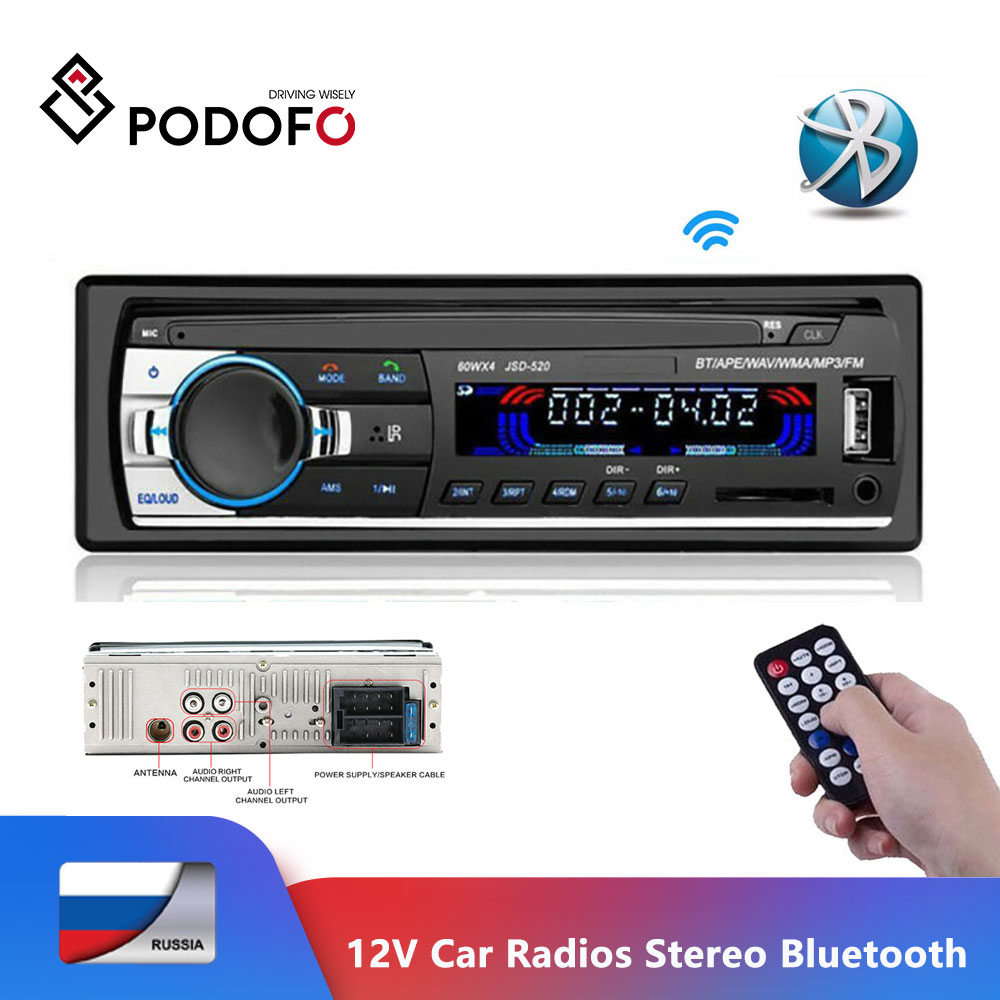 Podofo 12V radia samochodowe Stereo Bluetooth pilot ładowarka telefon USB/SD/AUX-IN Audio odtwarzacz MP3 1 DIN w desce rozdzielczej samochodowy sprzęt Audio JSD52