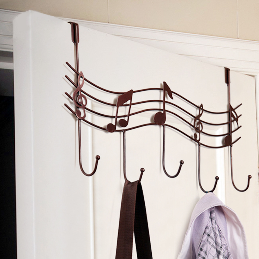 Door Back Metal Notes Wall Hooks Kitchen Bathroom Organizer Hanger Hooks With 5 Hook
