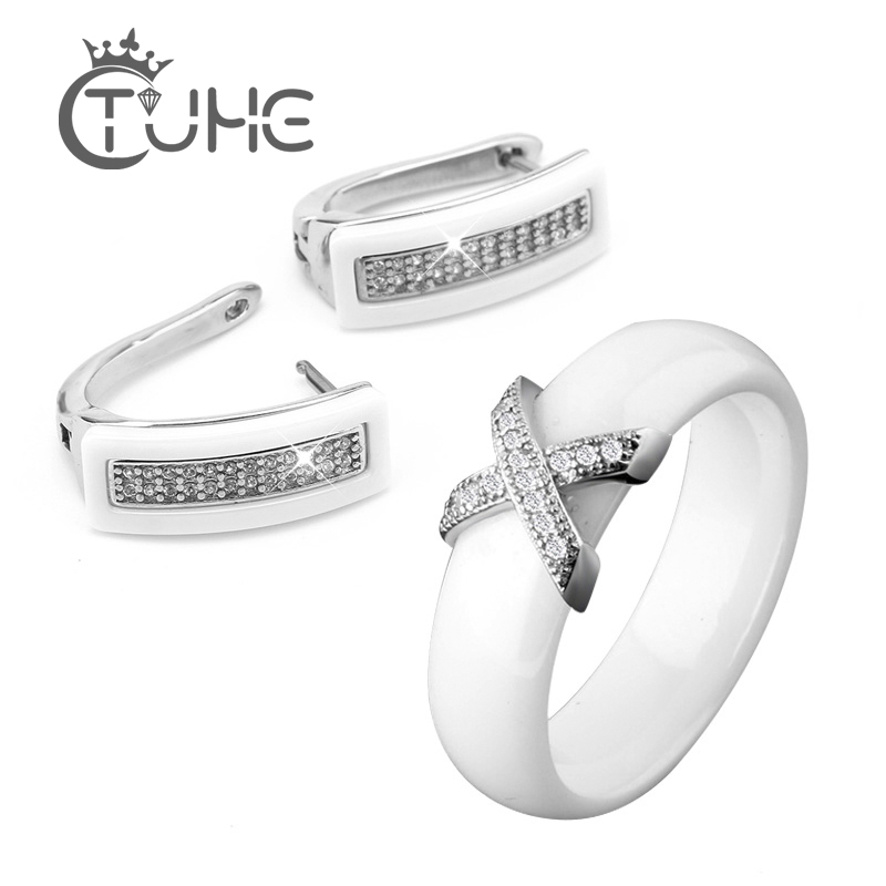 Jewelry-Set Cubic-Zircon-Ring Ceramic Birthday-Gift Stainless-Steel Black Big-Discount title=