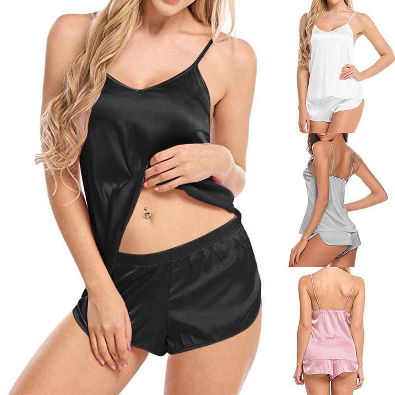 Vertvie Nữ Lưng Giữa Sexy Gợi Cảm Bodysuit Mô Phỏng Lụa Mỏng Bộ Đồ Ngủ Bộ Cổ Chữ V Yếm Áo Tay Con Quần Short Ngủ Mặc Hở Lưng