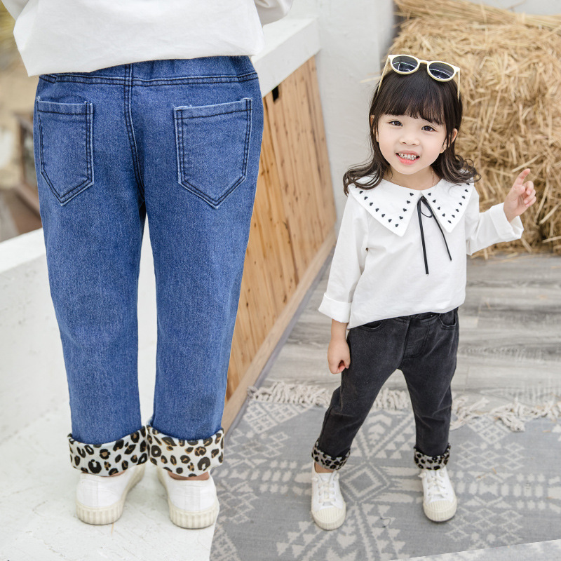 Leopard pants children western style in the spring and autumn with new 2019 4 to 8 years old girls jeans