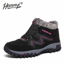 Kış ayakkabı kadın yüksek kaliteli su geçirmez peluş sıcak tutmak bayan botları toka askısı açık kaymaz yarım çizmeler için kadın