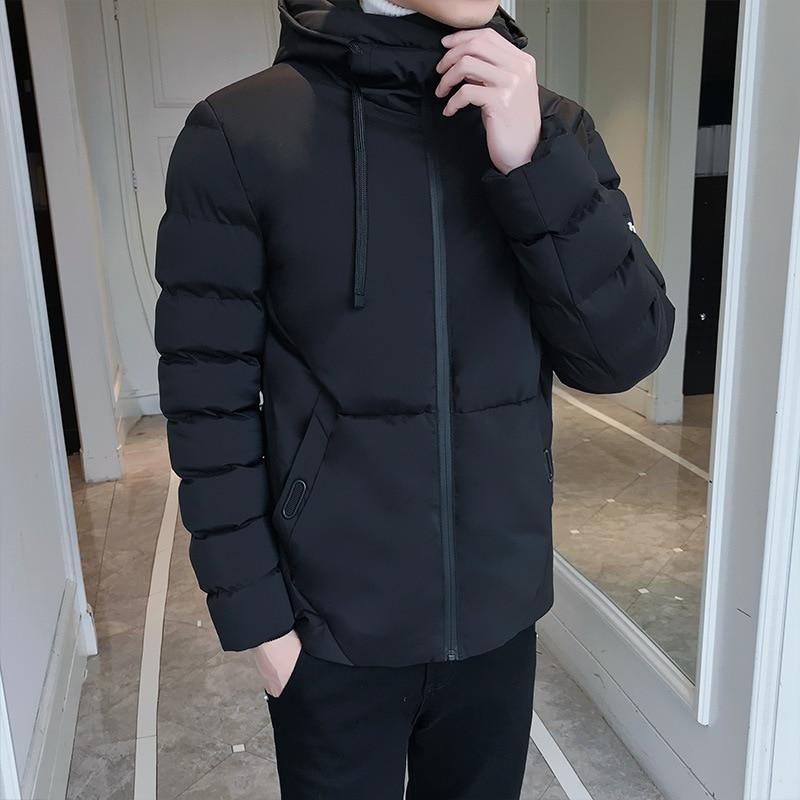 2019 Mens Top Quality Warm Winter Puffer Bomber Jacket Windproof Casual Outerwear Thick Medium Short Coat Men Hoods Parka Anorak
