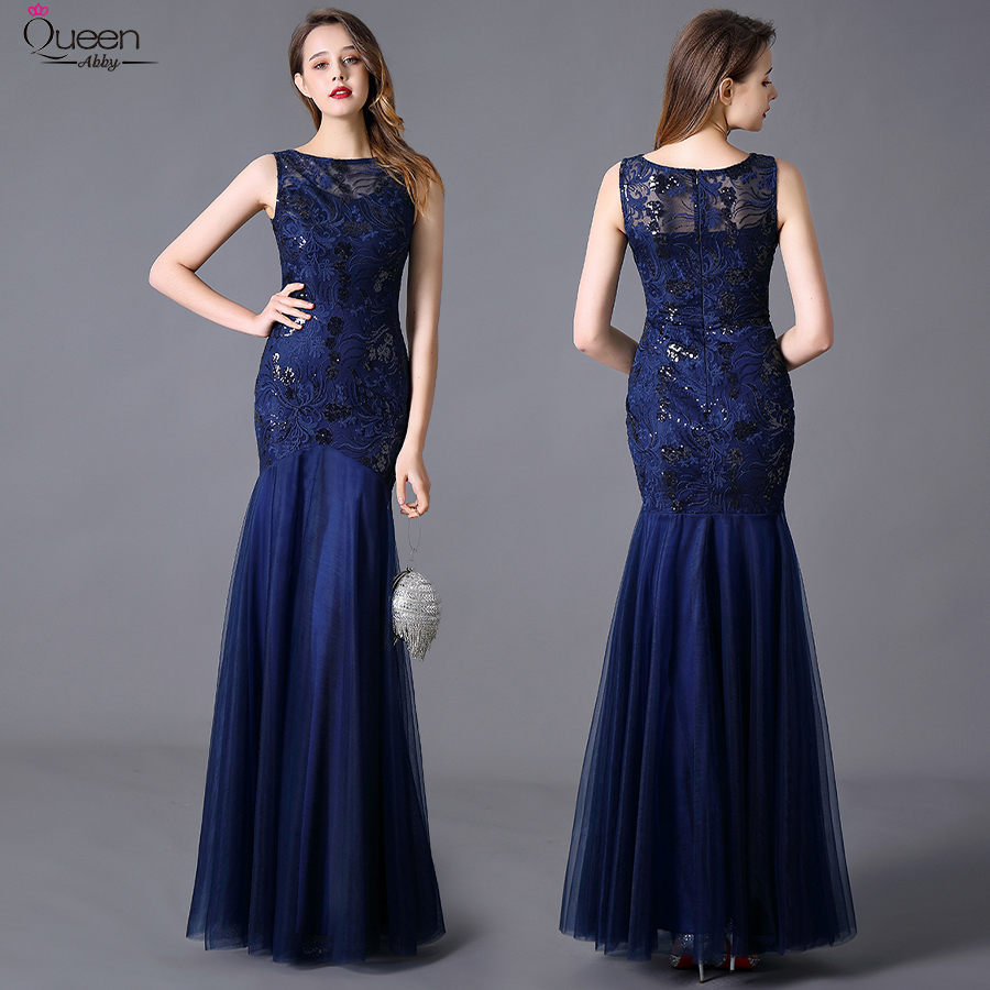 Plus Size Sequins Evening Dresses Long Embroidery Queen Abby Mermaid Sleeveless Women Lace Formal Party Gown Robe De Soiree 2020 2