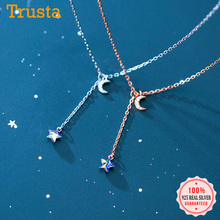 Clavicle Necklace Chain Cz Pendant 925-Jewelry Moon-Star 925-Sterling-Silver Trustdavis