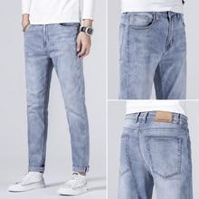 Jean Slim Stretch pour hommes, pantalon de marque en Denim bleu clair, en coton, décontracté, à la mode, Style classique, nouvelle collection 2021, 501
