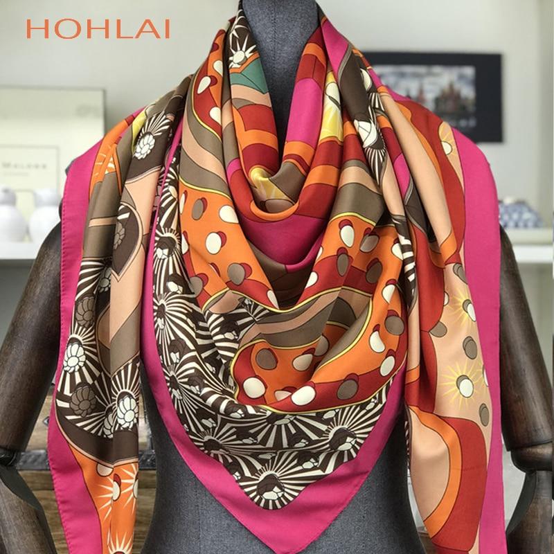 Luxury Brand Twill Silk Scarf Women Print Shawl Echarpe Fourlard Femme Square Scarves For Women Hijab Bandanas Bufandas Mujer