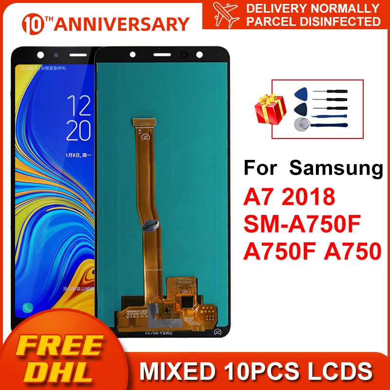 Super AMOLED For Samsung Galaxy A7 2018 SM-A750F A750F A750 LCD With Frame Display Touch Screen Digitizer Replacement Parts