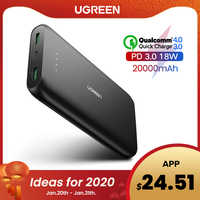 Ugreen power bank 20000 mah carregador de telefone rápido carga rápida 4.0 qc3.0 bateria externa portátil para iphone 11 xiaomi pd powerbank