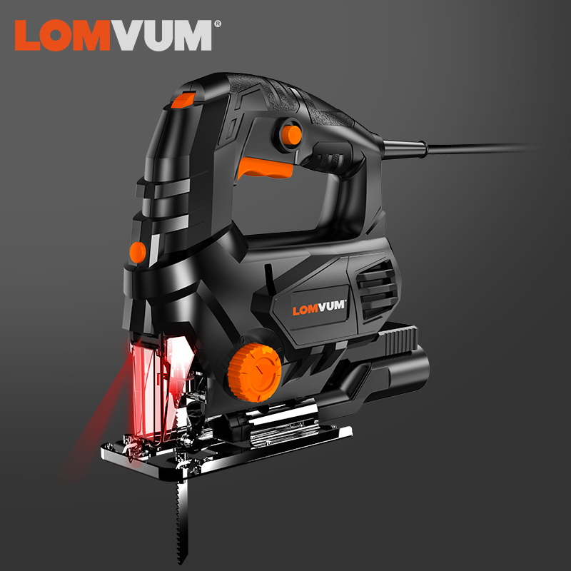 LOMVUM Jig Saw 800WLaser Cordless Guide Electric Saw LED Light With Blades Woodworking