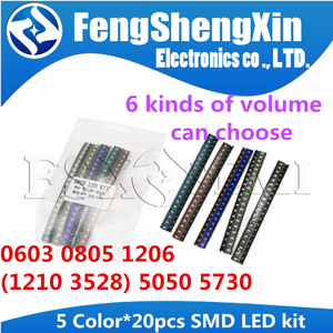 5colors x 20pcs=100pcs 5050 5730 1210 1206 3528 0805 0603 LED Diode Assortment SMD LED Diode Kit Green/RED/White /Blue/ Yellow