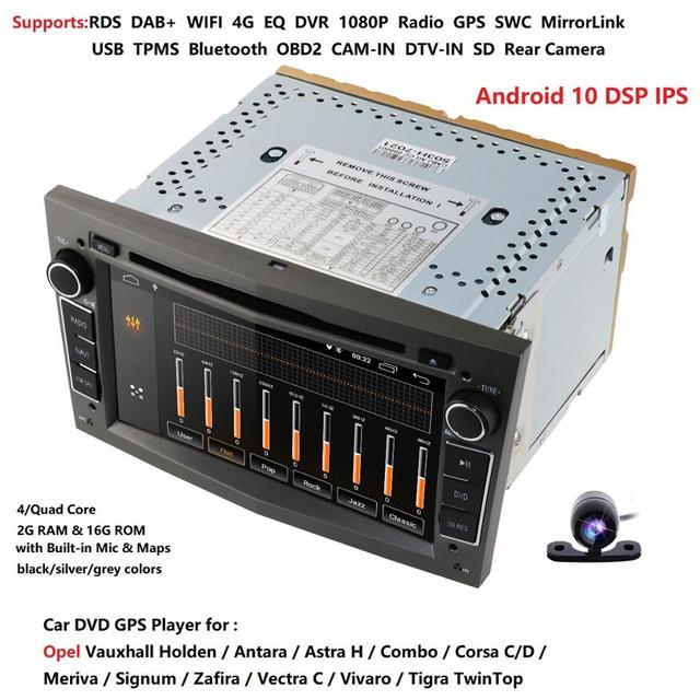 รถมัลติมีเดียGPS Android10.0 2 Din DVD AutomotivoสำหรับOPEL/ASTRA/Zafira/Combo/Corsa/antara/VivaroวิทยุFM DSP DVR TPMS