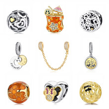 Original 925 Sterling Silver Charm Bead Bee Love Charms Safety Chain Clip Shine Gold Fit Pandora Bracelets Women Diy Jewelry(China)