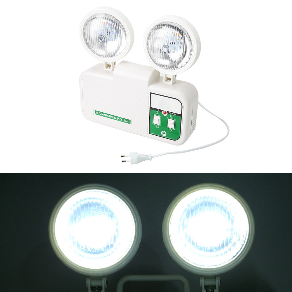 2W Dual Lamp Head Exit 8 LEDs Emergency Light 110-220V EU Plug High Brightness LED Lamp