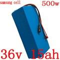 36В аккумулятор 500 Вт 36В 15ач Электрический велосипед батарея 36В 15ач литий-ионный аккумулятор ИСПОЛЬЗОВАТЬ samsung сотовый с 42 в 2A зарядное устро...