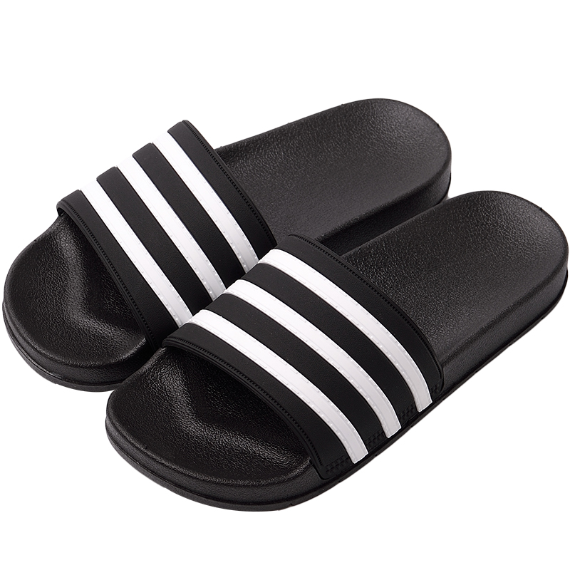 Stripe Sport Slippers Thick Sole Soft EVA Indoor Bathroom Slides Sandals Casual Beach Unisex Platform Men Women Home Shoes Large