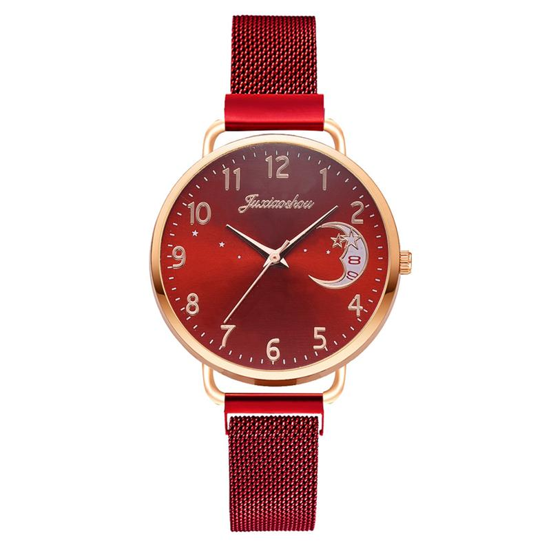 Rose Gold Mesh Strap Women's Fashion Watches Simple Numbers Dial Luxury Quartz Watch Women Clock Rose Gold Pointer Wristwatches 12
