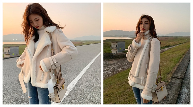 Chique casaco de lã de cordeiro mulher
