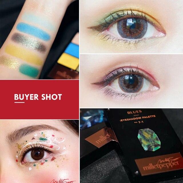 milletpepper BLUES 7 Colors Eyeshadow Palette Charming Pigment Shimmer Glitter Powder Long Lasting Makeup Eye Shadow Matte 3