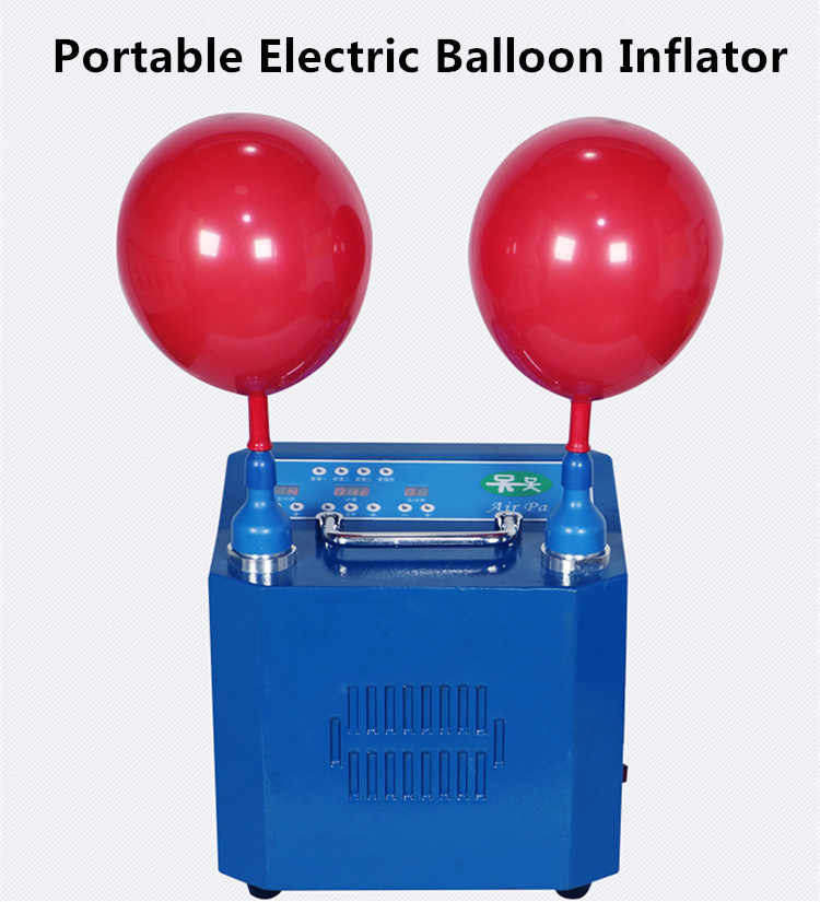 Electric Inflator Pump with Knotter for Decoration BOMPOW Electric Balloon Air Pump 600W Blue Party Dual Nozzle Portable Balloon Inflator Blower Pump Balloon Pump with High Power